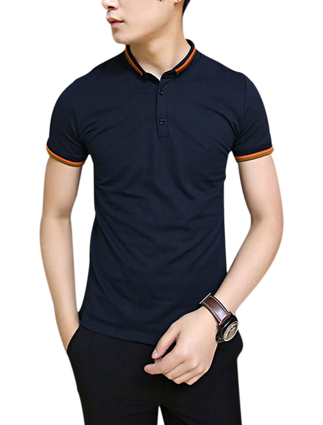 Men Convertible Collar Short Sleeve Slim Fit Polo Shirt Navy Blue M