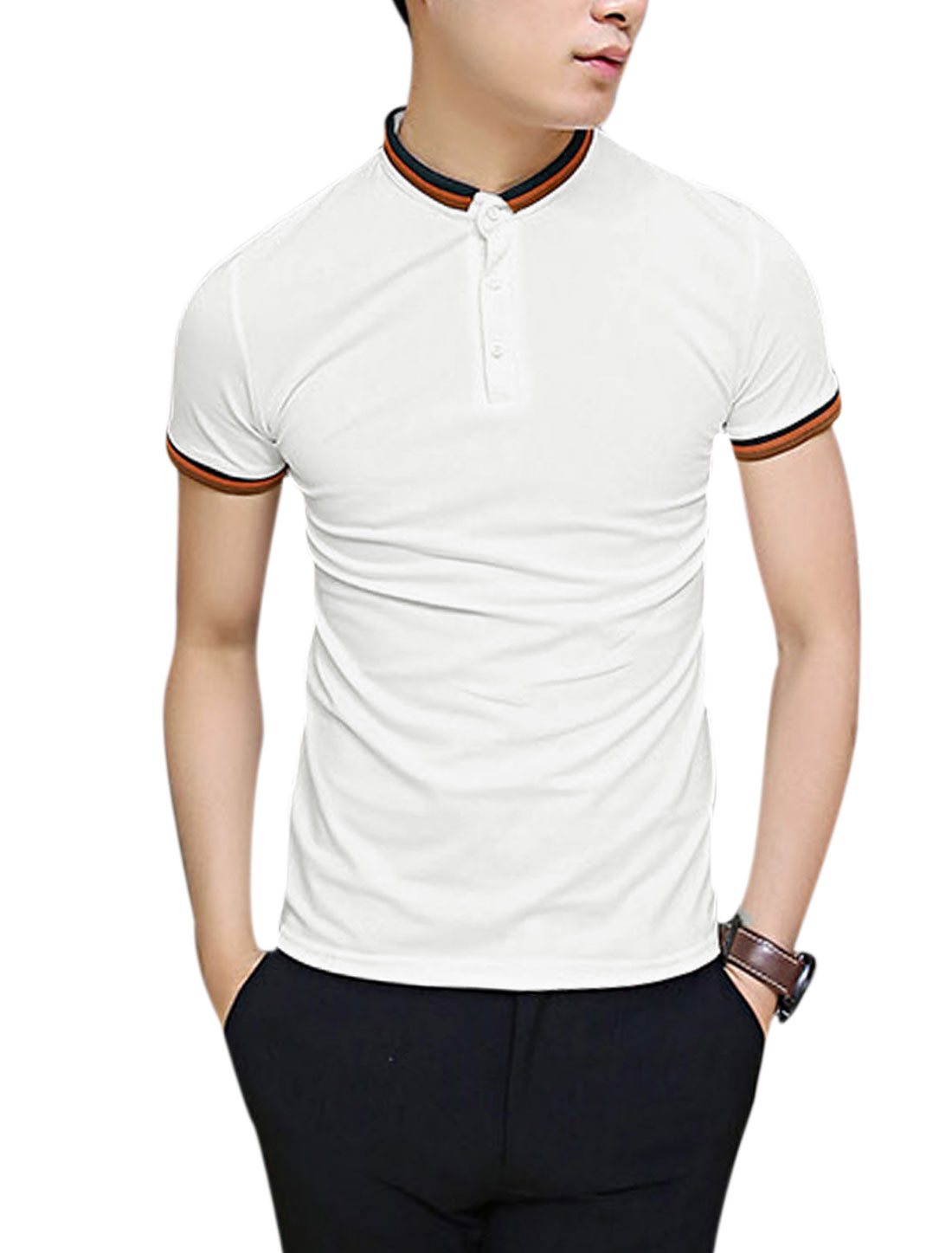 Men Stripes Line Detail Short Sleeve Slim Fit Polo Shirt White M