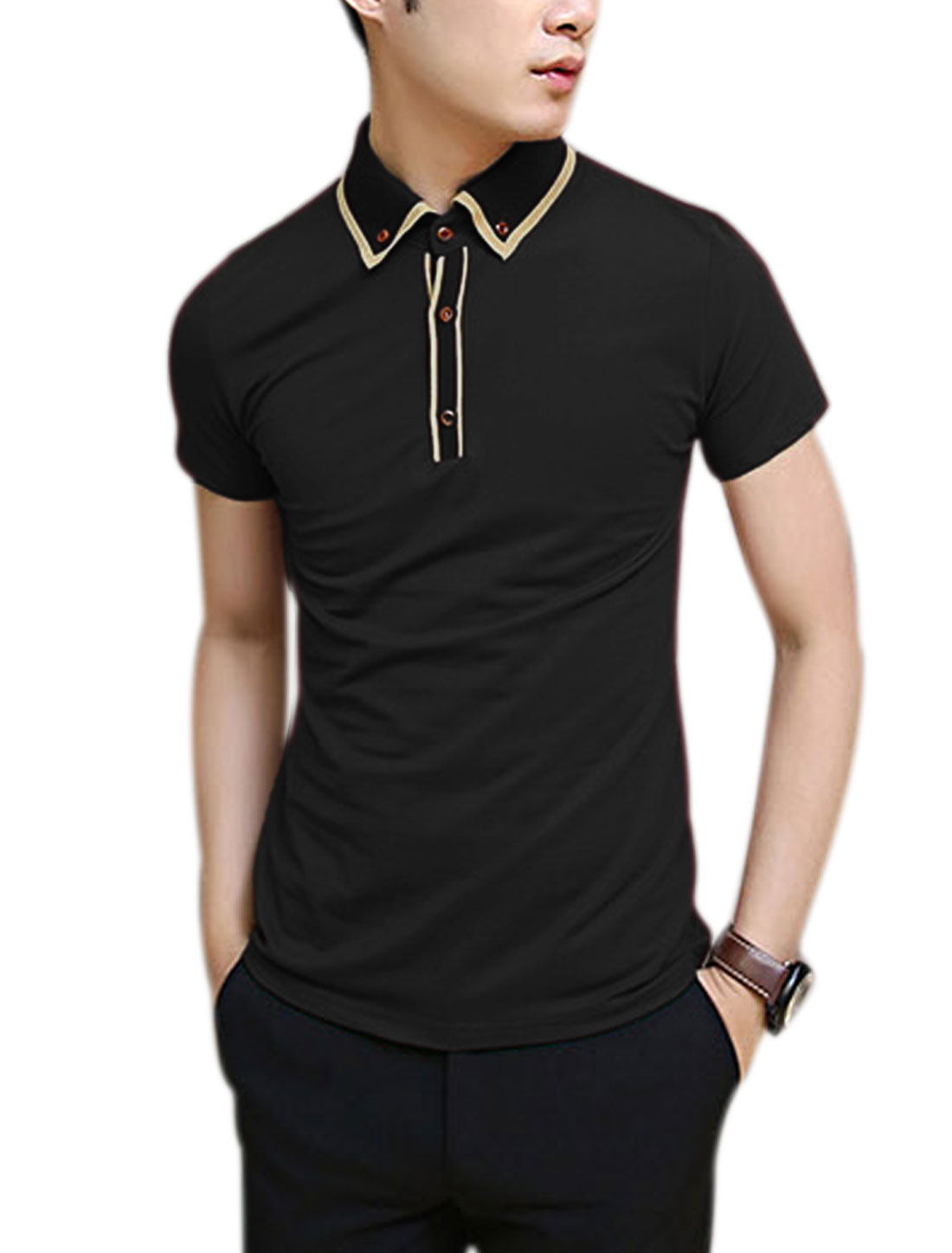 Men Rib Knit Point Collar 1/4 Placket Casual Button Down Polo Shirt Black M