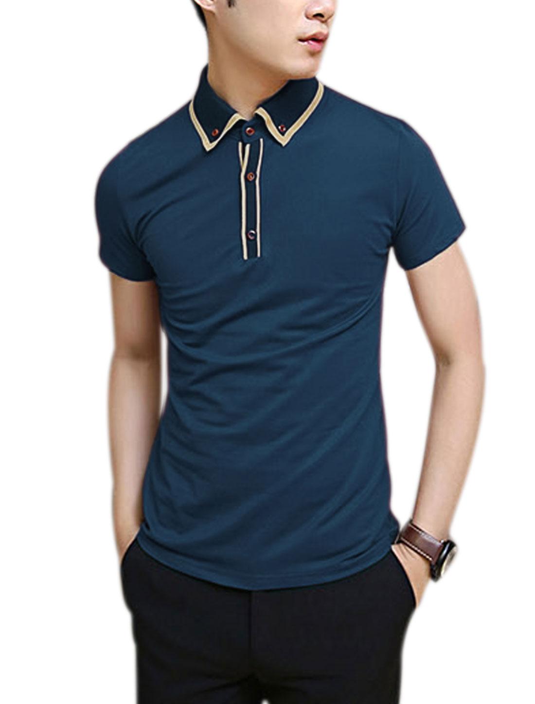Men 1/4 Placket Stripes Line Detail Button Down Polo Shirt Navy Blue M