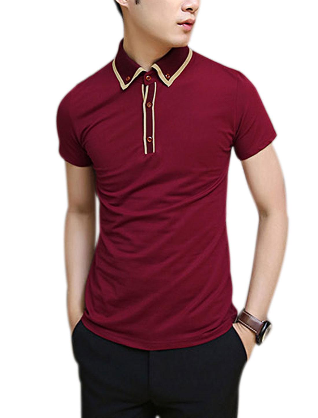 Men Rib Knit Point Collar 1/4 Placket Slim Fit Polo Shirt Burgundy M