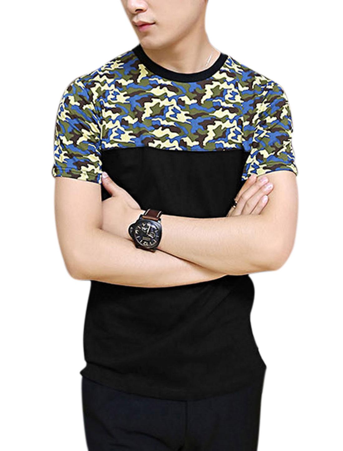 Men Short Sleeve Zip Up Side Hem Fashion Tee Shirt Black M
