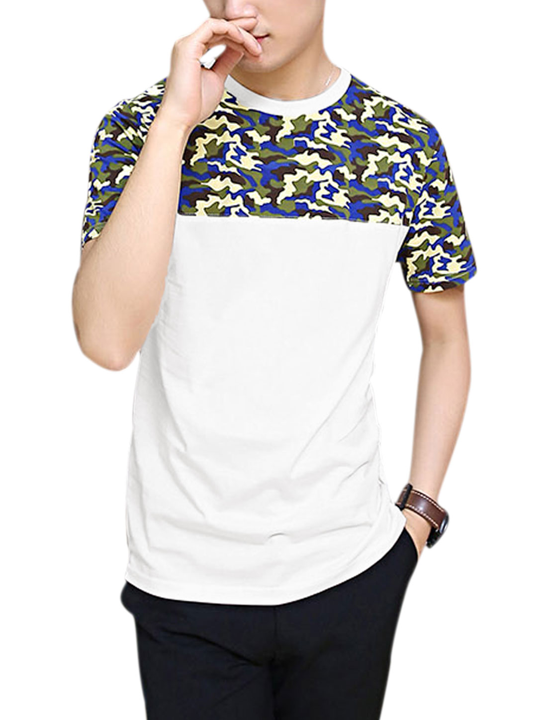 Men Round Neck Camouflage Pattern Splicing Fashion Tee Shirt White M