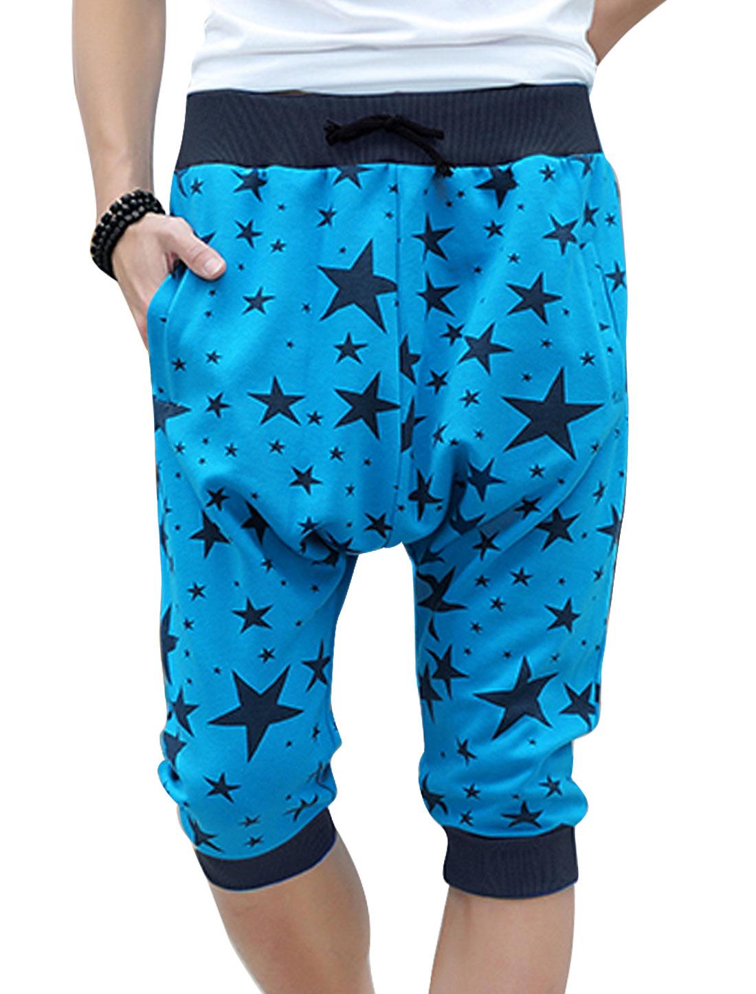 Men Two Pockets Back Ribbing Cuffs Chic Capris Harem Pants Light Blue W28