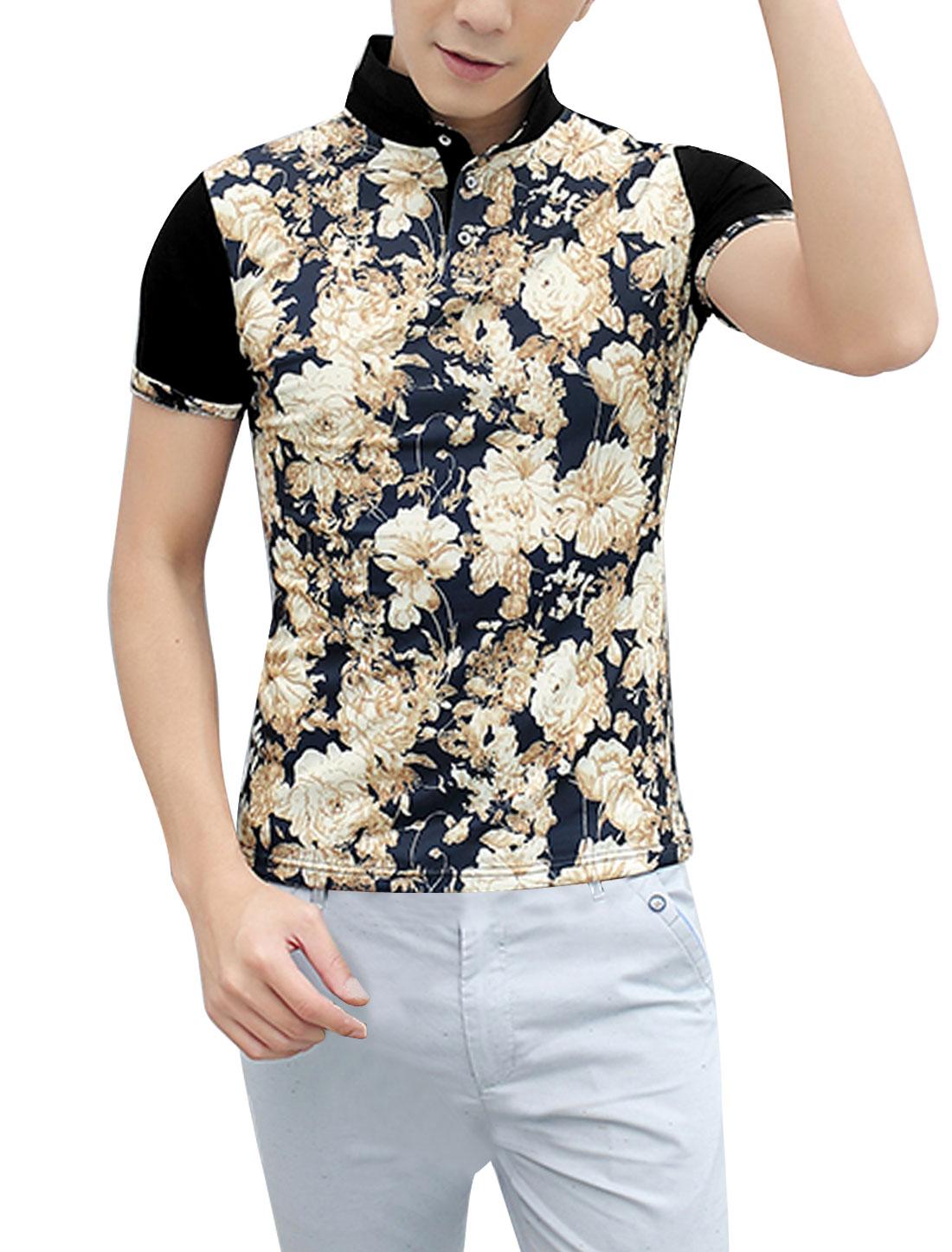 Men Three Buttons Closure Floral Prints Cozy Fit Polo Shirt Black S