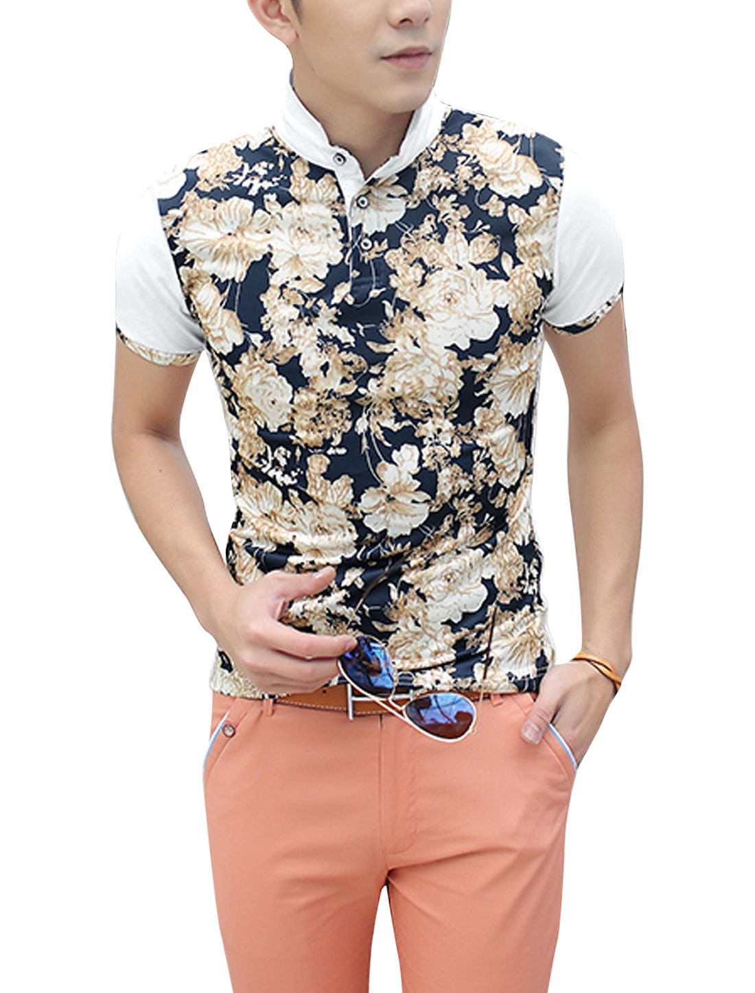 Men Short Sleeve Splicing Floral Prints Cozy Fit Polo Shirt White S