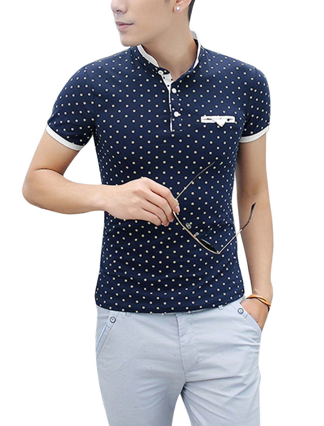 Men Rib Knit Detail Dots Pattern Stylish Polo Shirt Navy Blue S