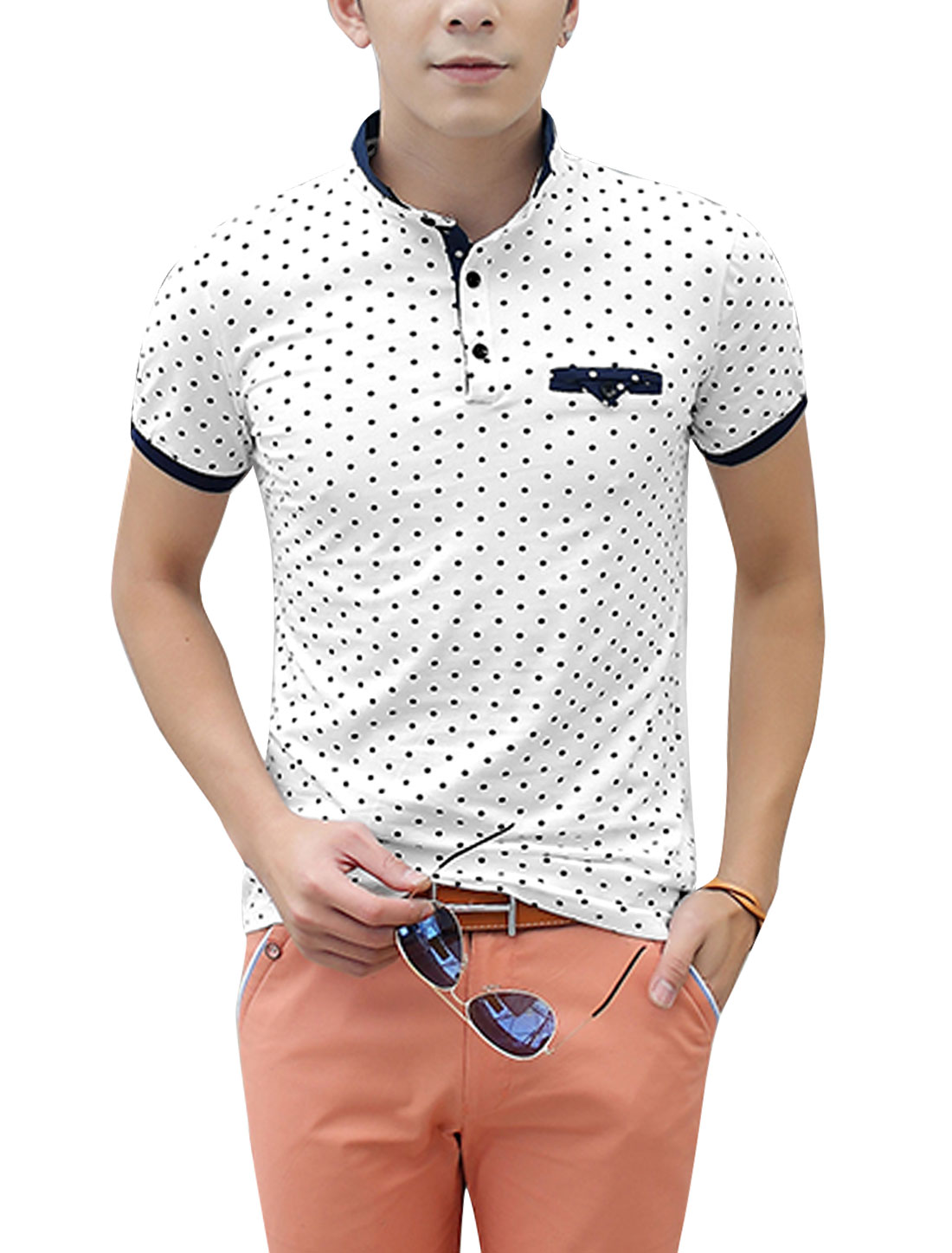 Men Rib Knit Detail Short Sleeve Stylish Polo Shirt White S