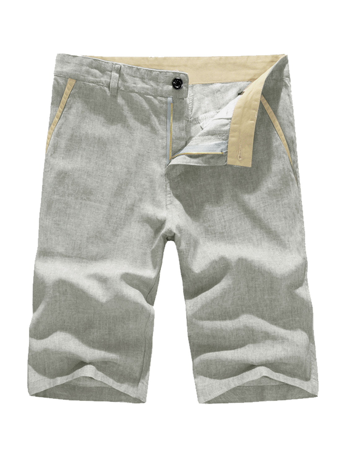 Men Loose Fit Zip Fly Buttons Detail Shorts Light Gray W32
