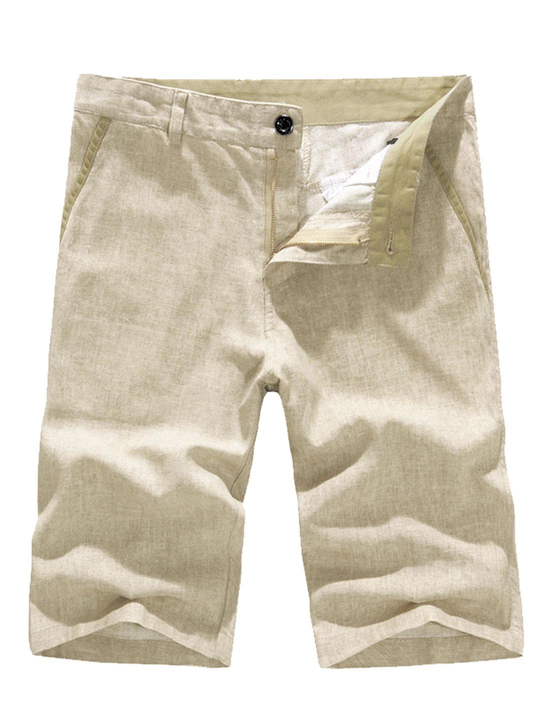 Men Soft Zip Fly Buttons Detail Leisure Shorts Khaki W32
