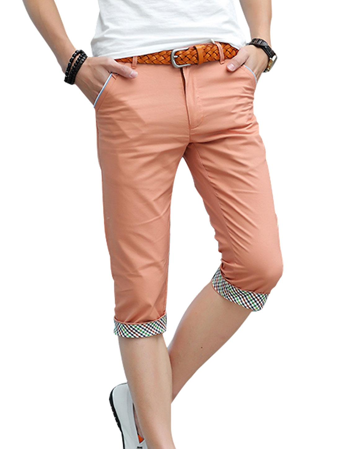 Men Belt Loop Zip Front Plaids Detail Capris Pants Salmon W30