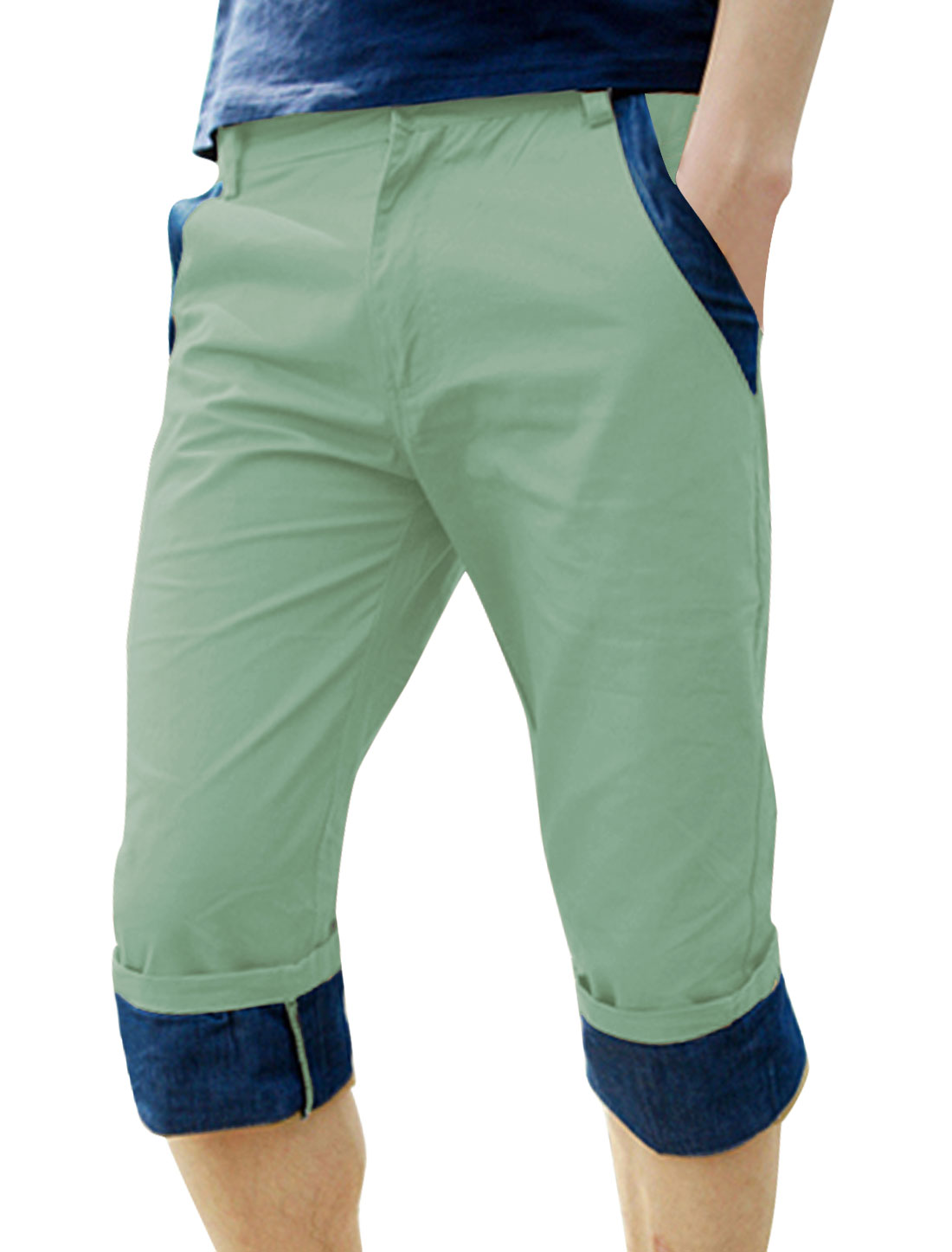Men Slant Pockets Front Roll Up Cuffs Casual Capris Pants Aqua W32