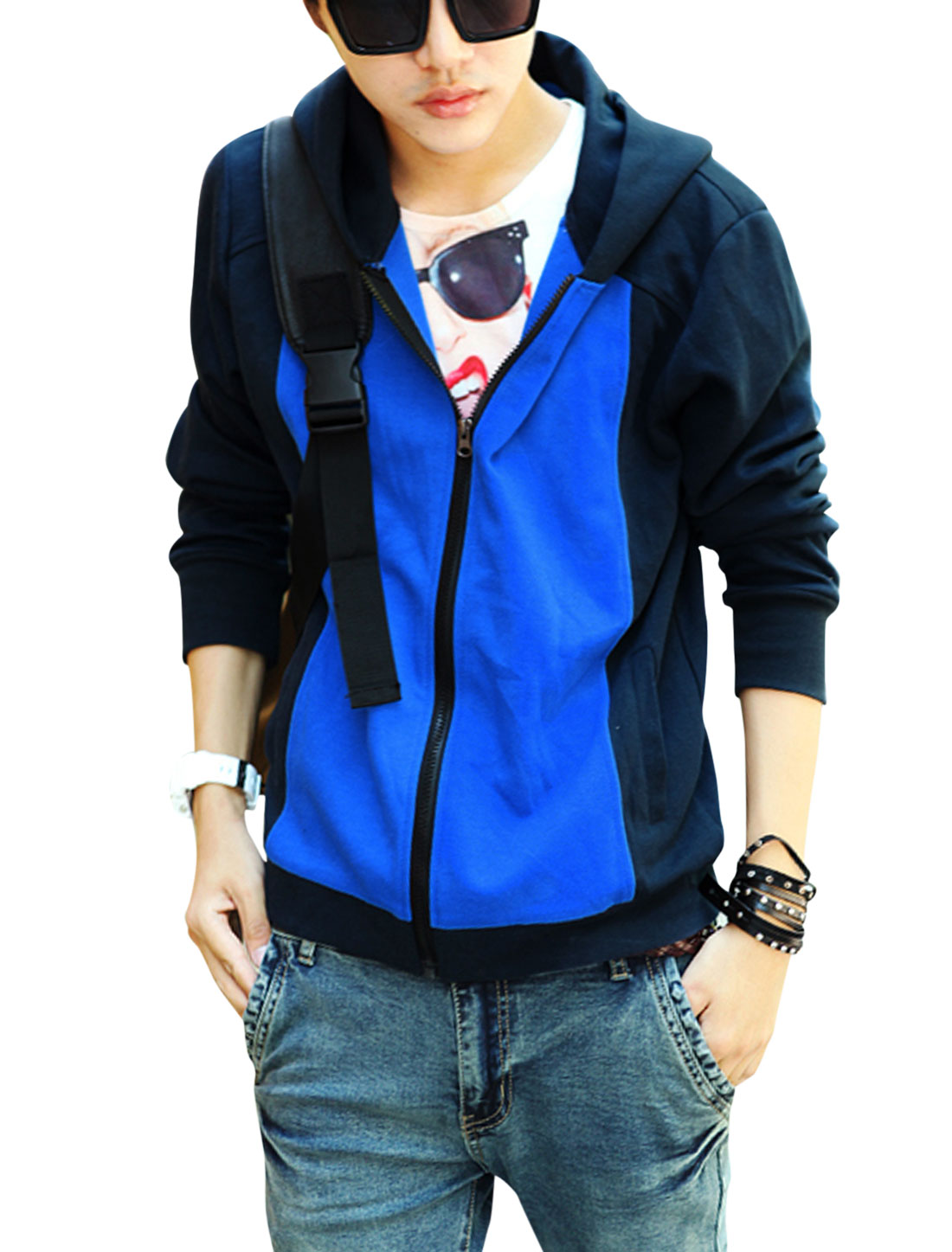 Men Contrast Color Zipper Closure Elastic Cuffs Hooded Jacket Navy Blue Blue M