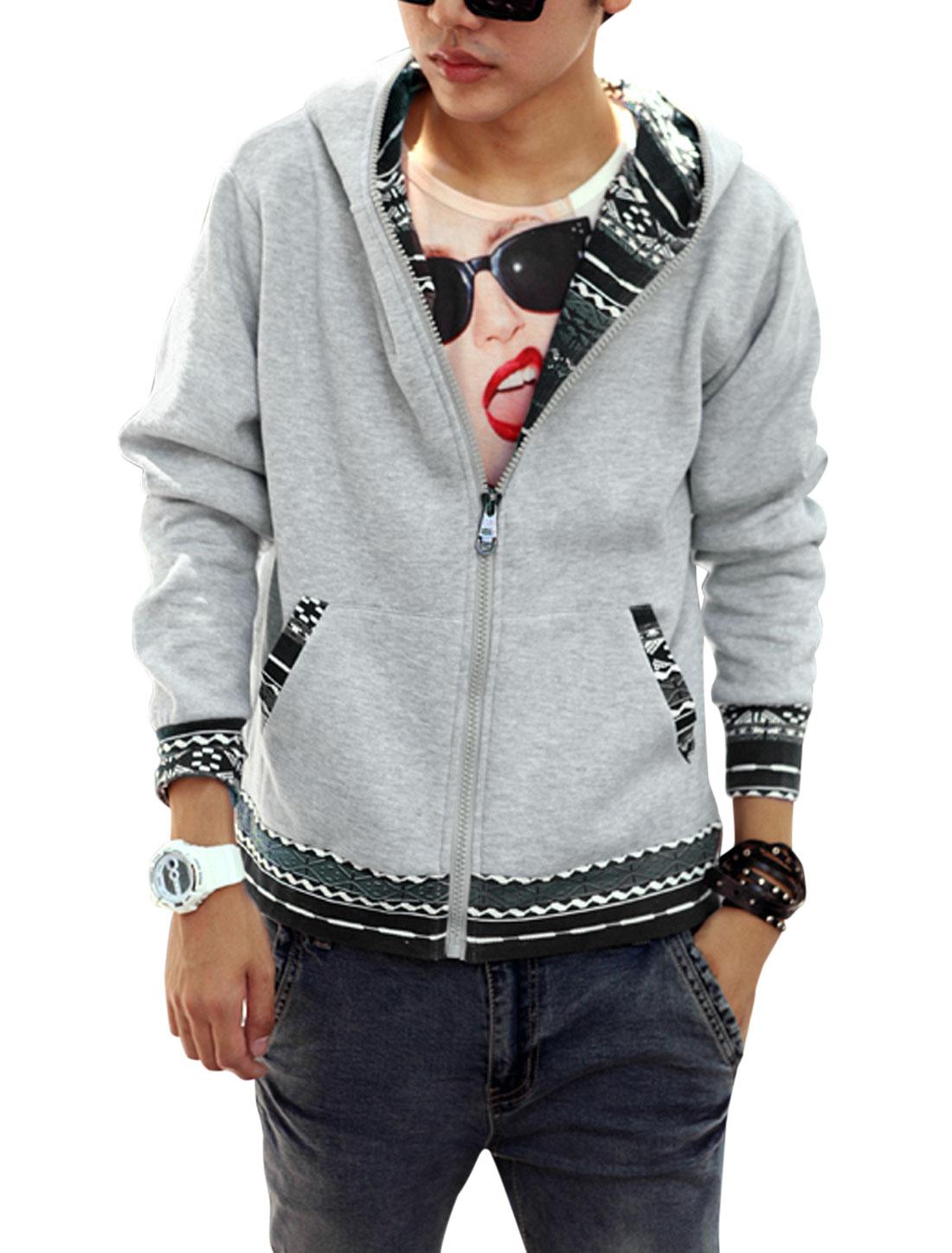 Man Geometric Prints Zip Up Basic Hooded Jacket Light Gray M