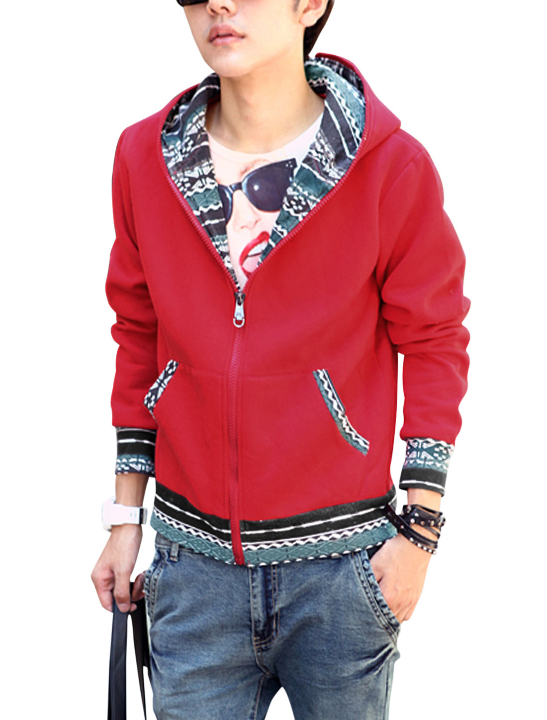 Men Geometric Prints Double Pockets Front Hooded Jacket Red M