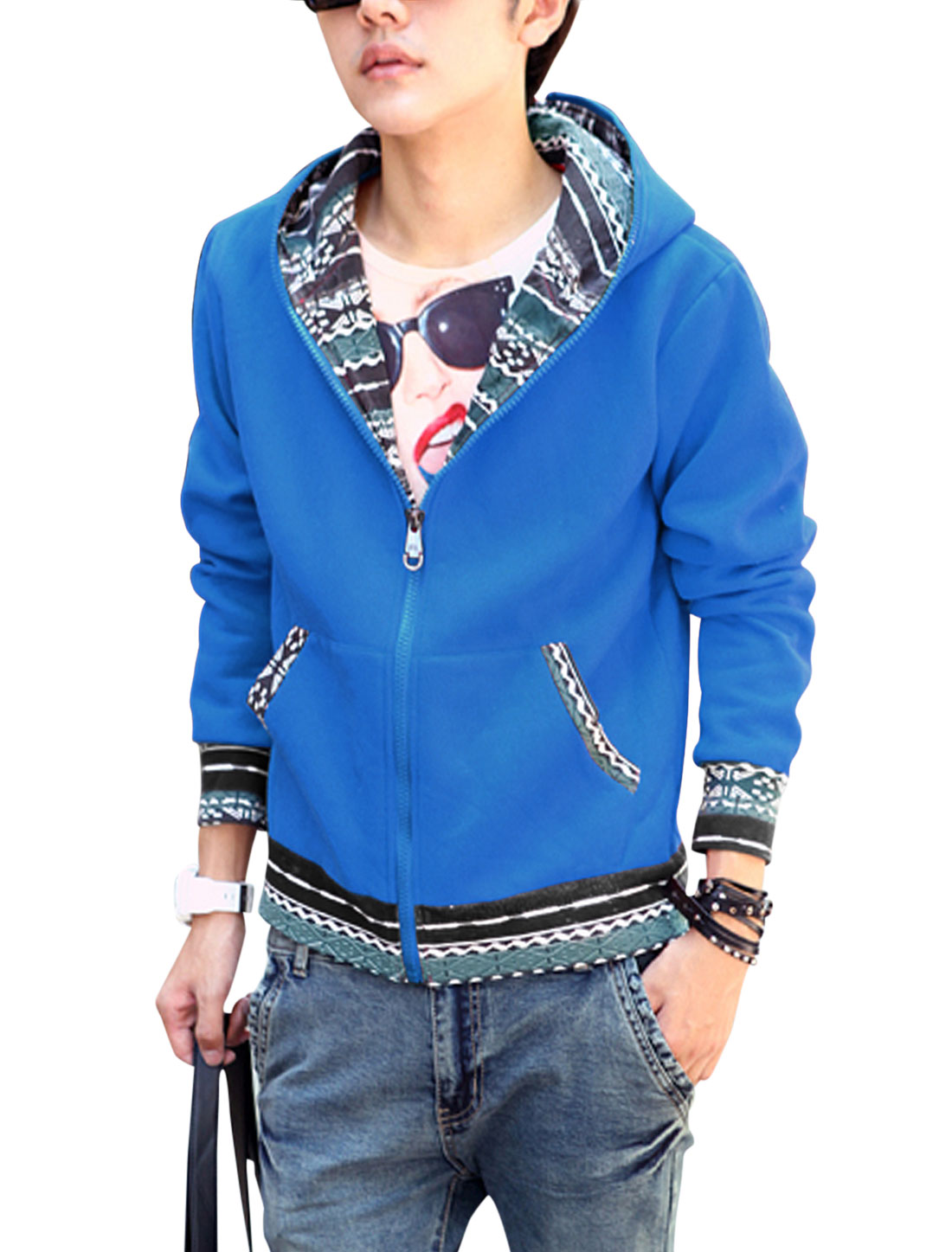 Man Geometric Prints Panel Design Zip Up Basic Hooded Jacket Blue M