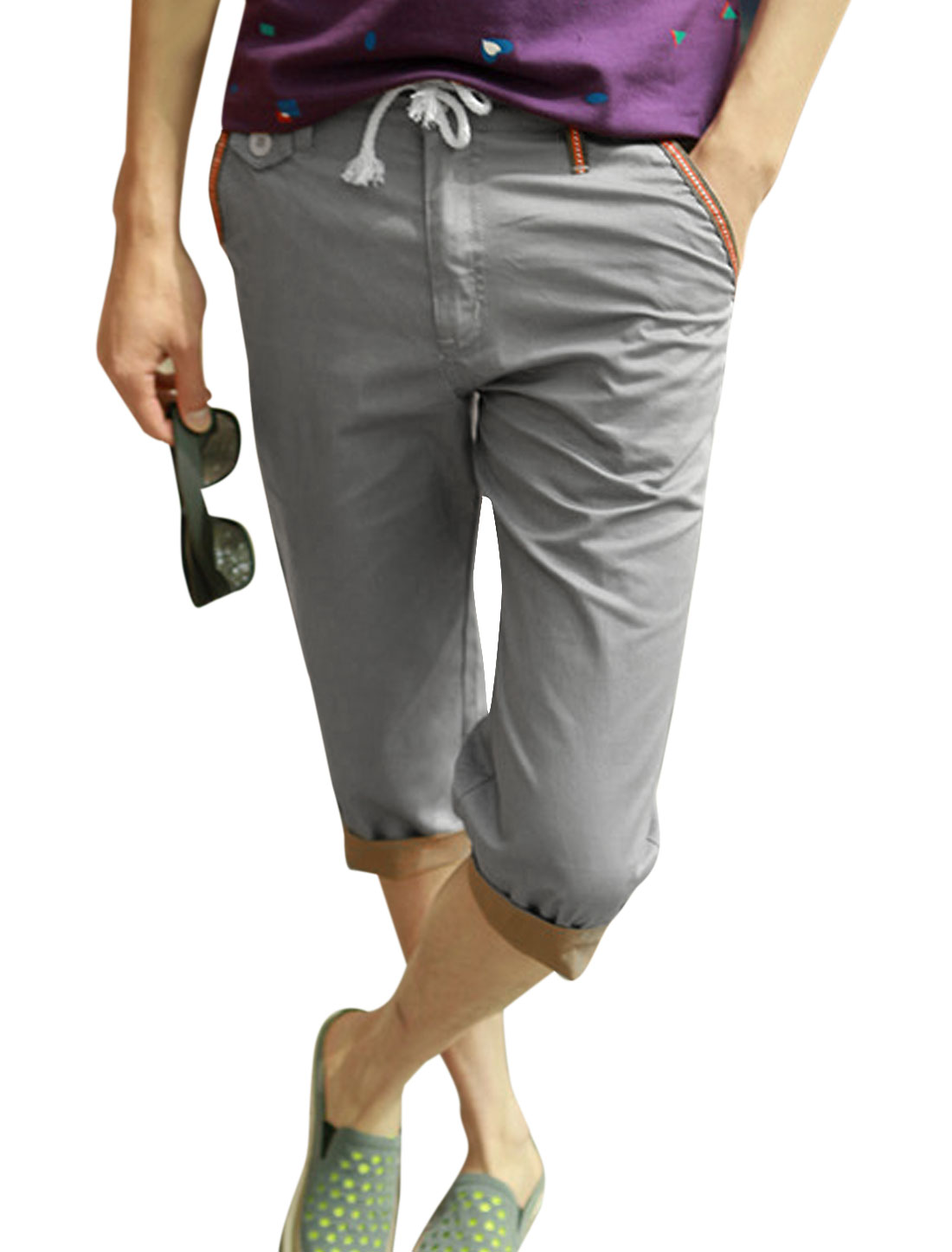Man One Button Up Belt Loop Leisure Stylish Capri Trousers Cool Gray W30