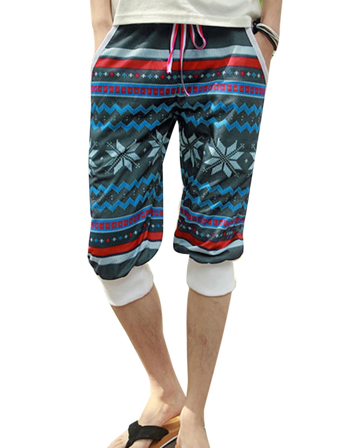 Men Geometric Prints Elastic Waist Mid Rise Slim Capri Trousers Gray W30