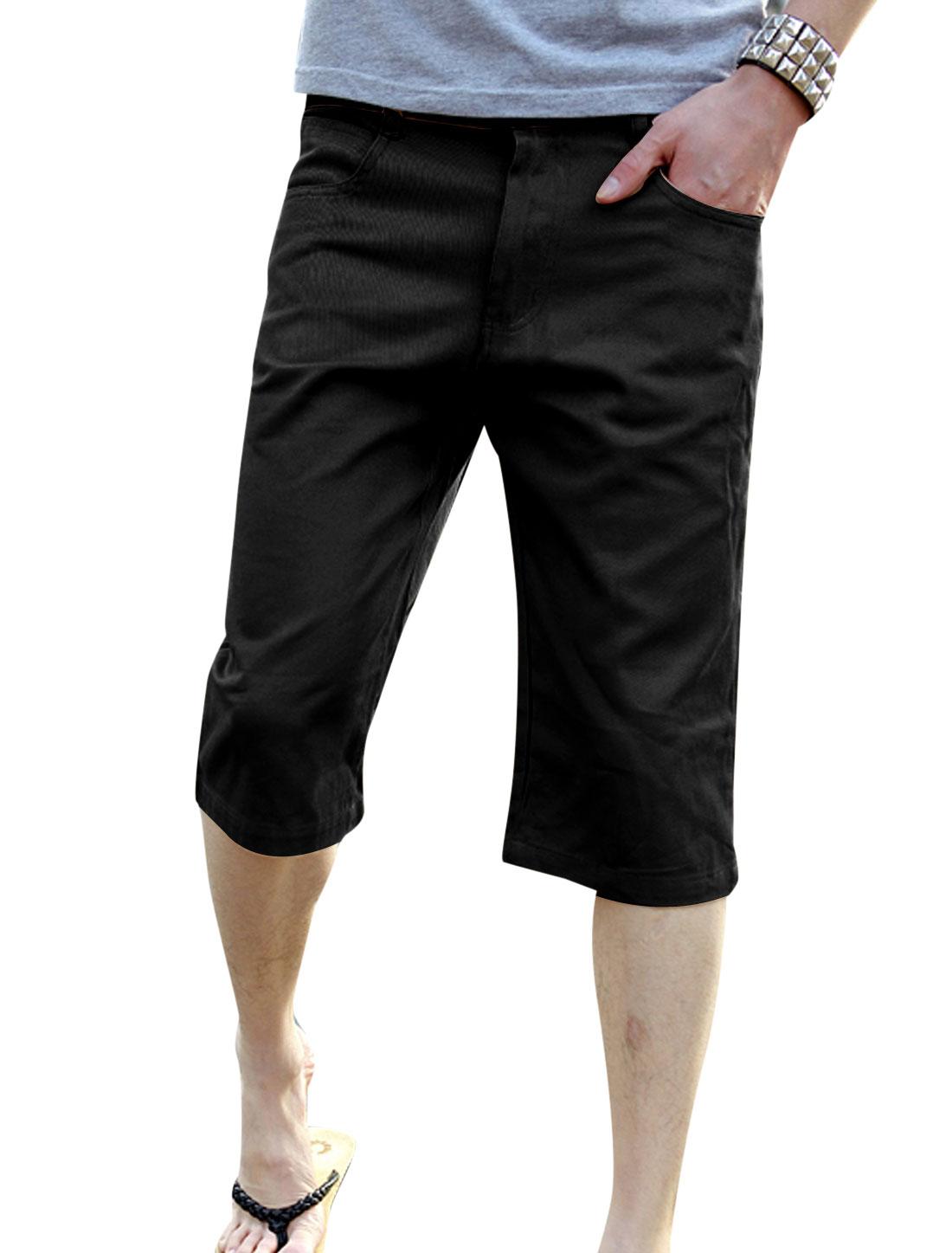 Men Zip Fly Panel Design One Button Up Mid Rise Capri Pants Black W30