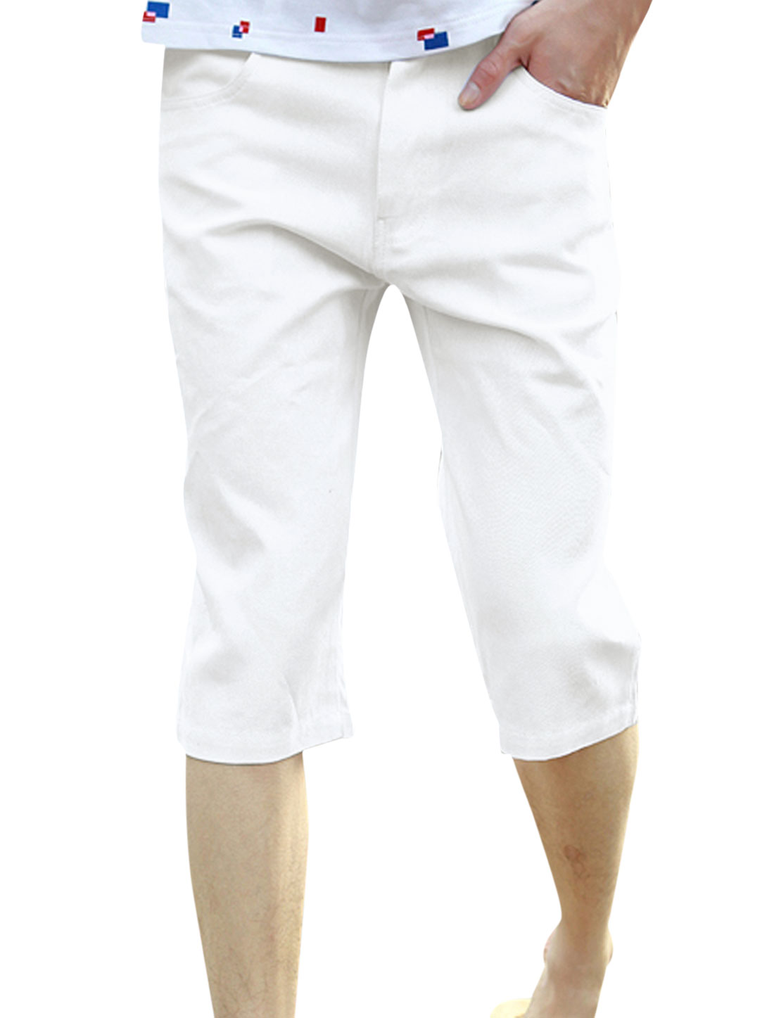 Men Ziper Closure Panel One Button Up Mid Rise Capri Pants White W30