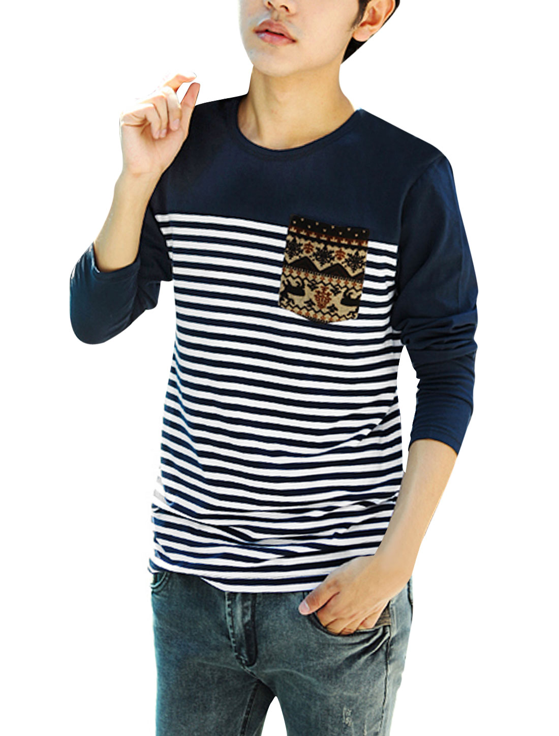 Men Stripes Pattern Round Neck Long Sleeve Pullover Casual T-Shirt Navy Blue M