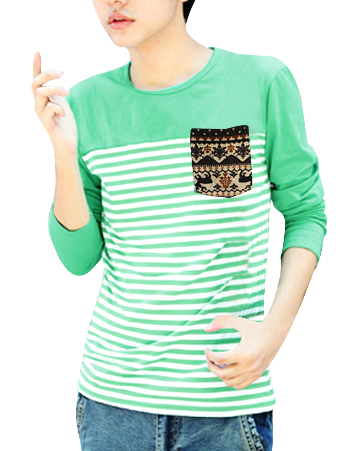Men Single Chest Pocket Panel Design Stripes Tee Shirt Light Green M