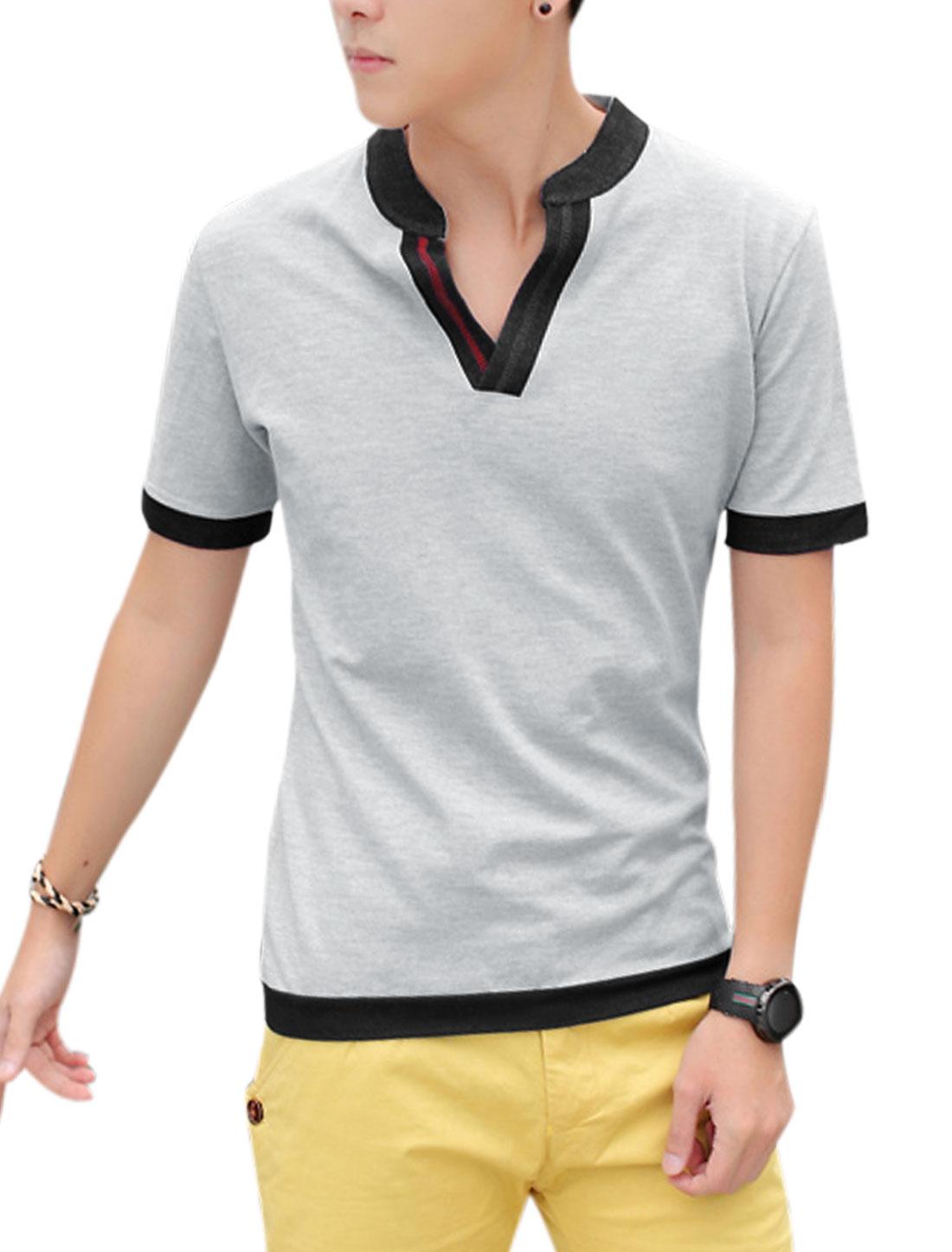 Men Summer Split Neck Short Sleeve Basic T-Shirt Light Gray M