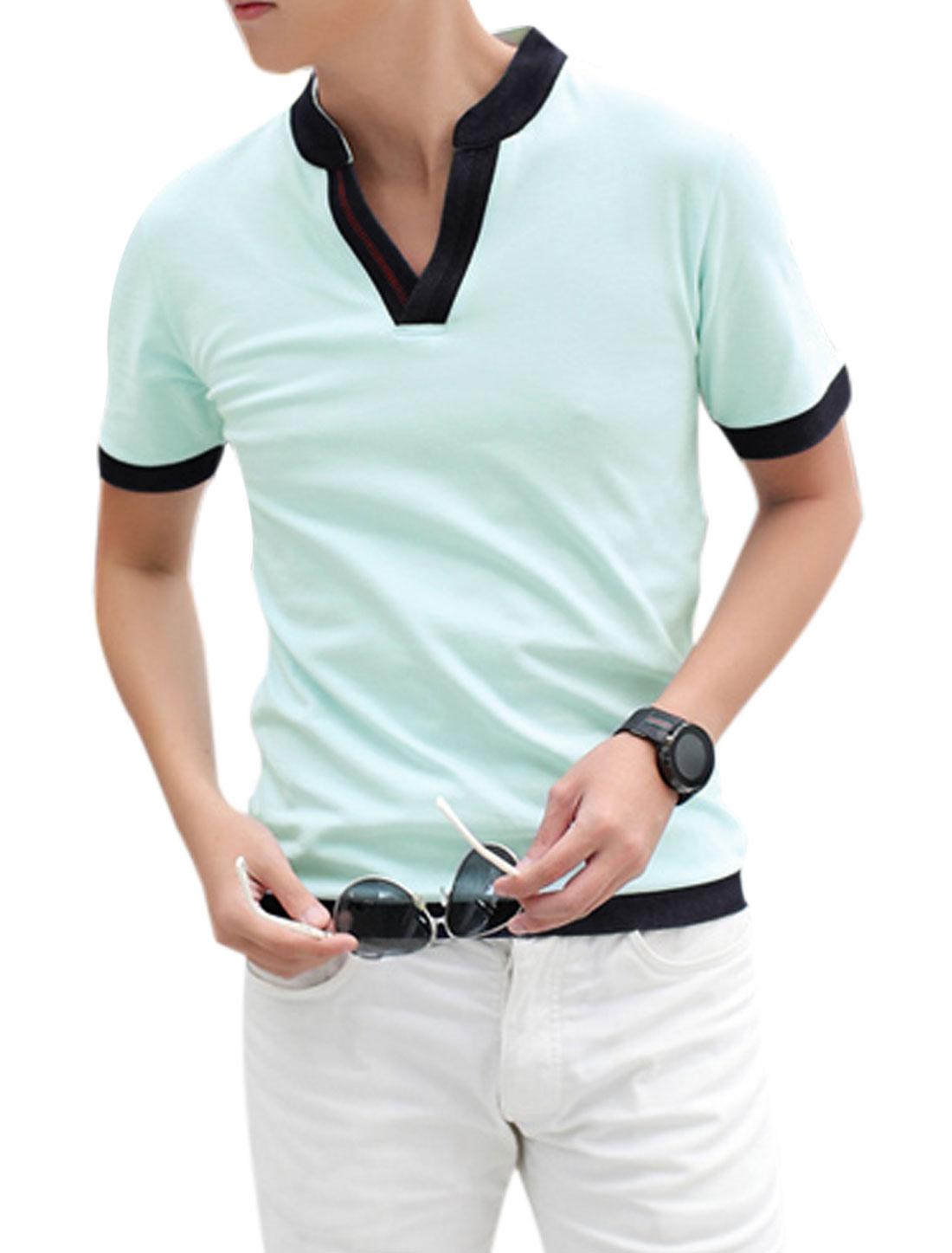 Men Split Neck Short Sleeve Basic T-Shirt Light Mint M