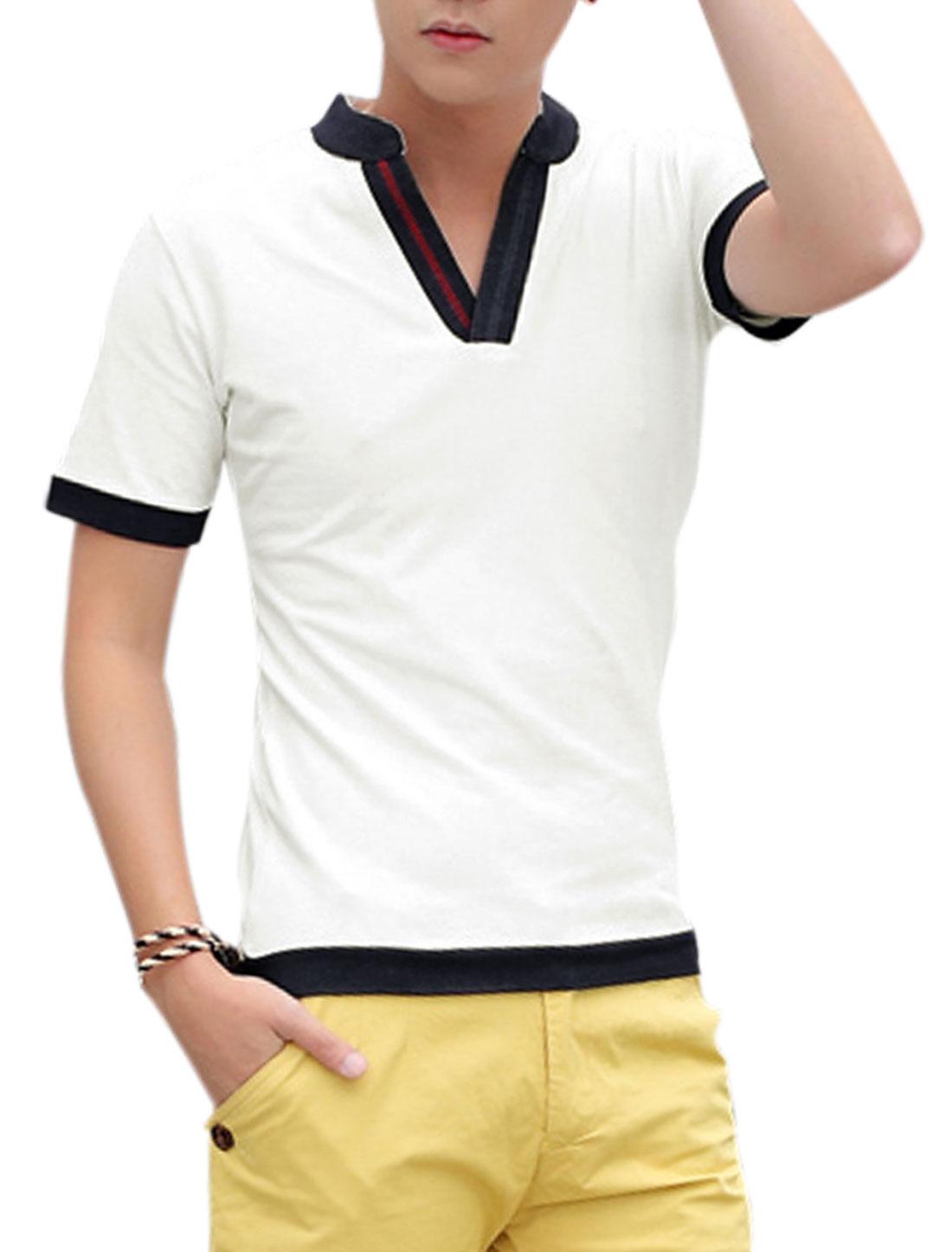 Men Split Neck Short Sleeve Colorblock T-Shirt White M