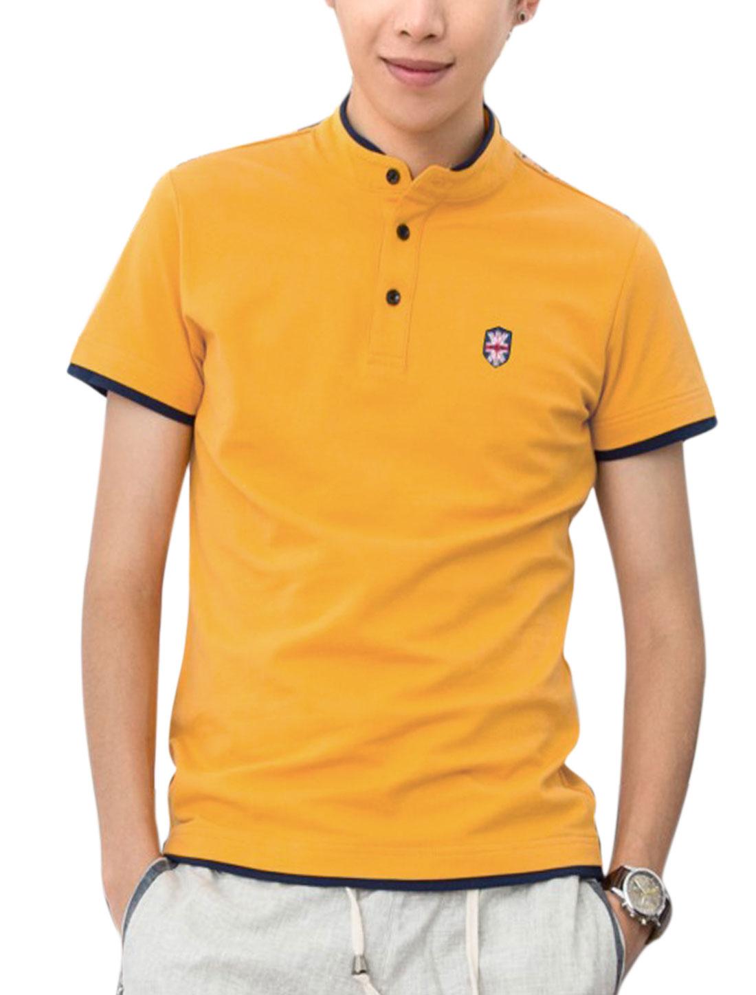 Men 1/4 Placket The Union Flag Applique Trendy Polo Shirt Yellow M
