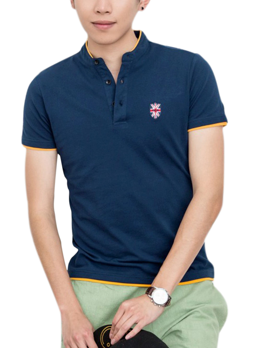 Men 1/4 Placket Layered Hem Trendy Polo Shirt Navy Blue M