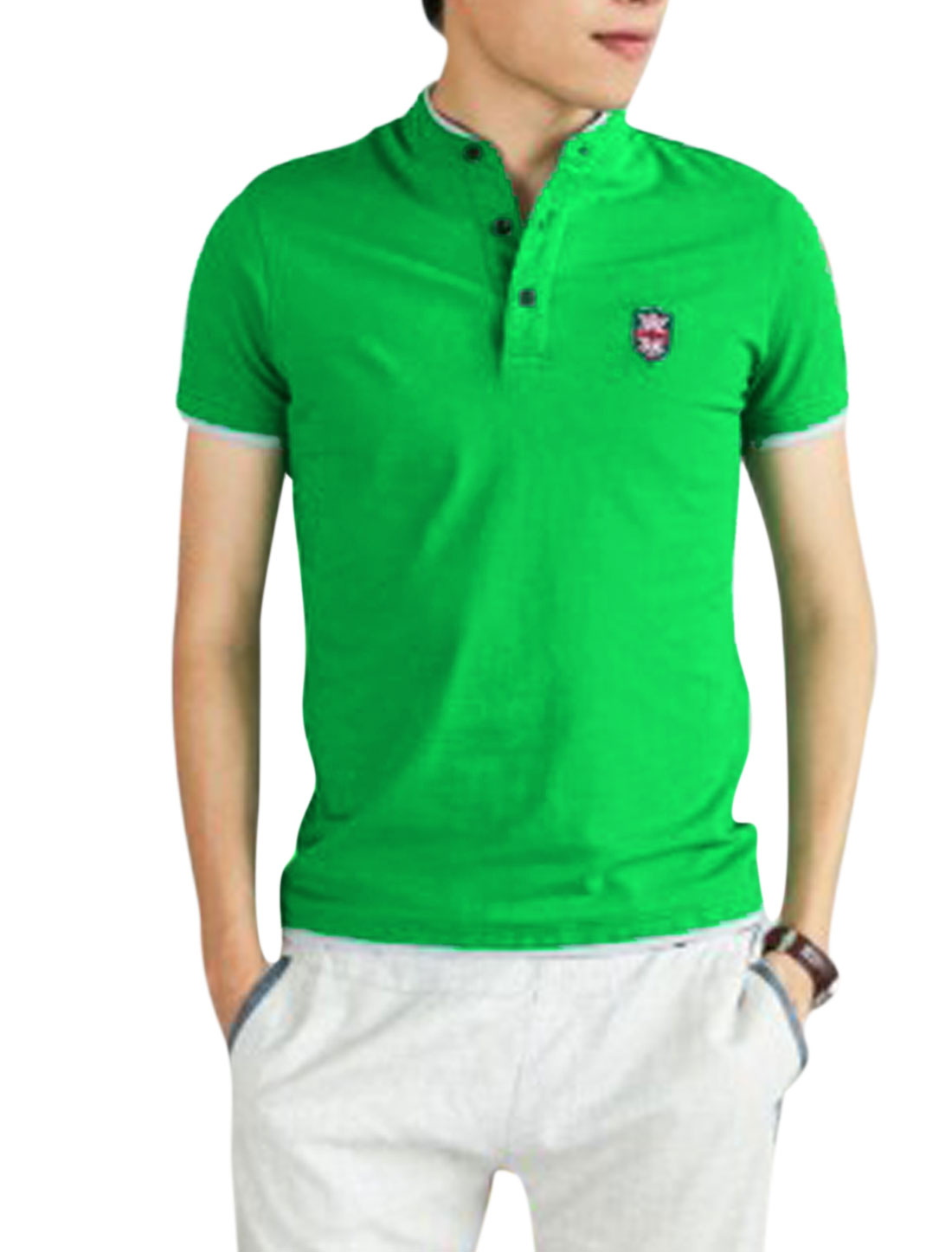 Men Stand Collar 1/4 Placket Layered Hem Trendy Polo Shirt Green M