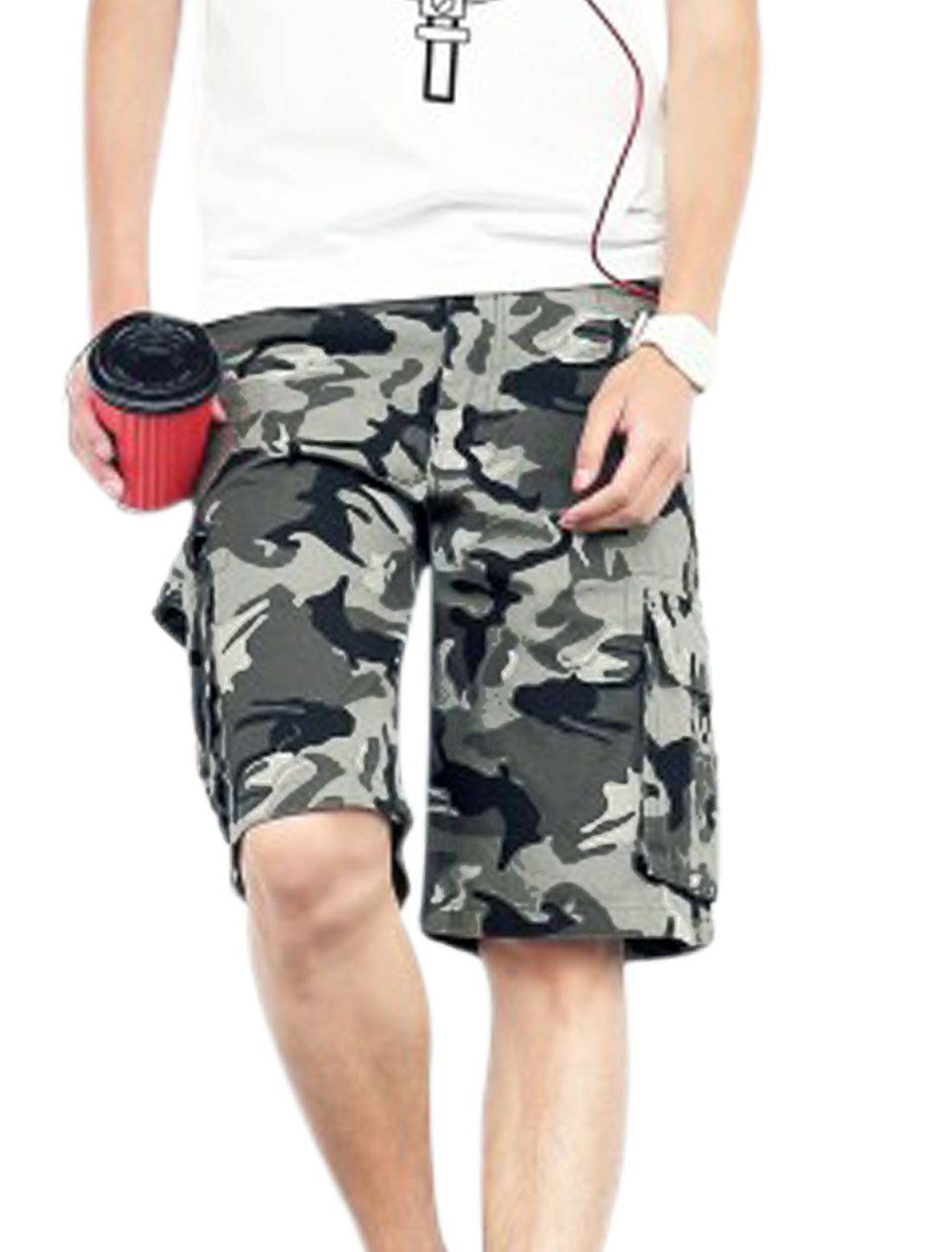 Men Waist Loop Camouflage Pattern Chic NEW Cargo Shorts Black Army Green W32