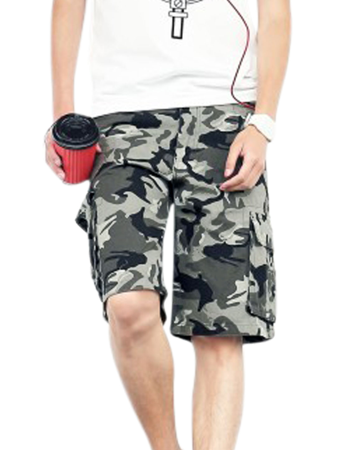 Men One Button Up Camouflage Pattern Chic NEW Cargo Shorts Black Army Green W34