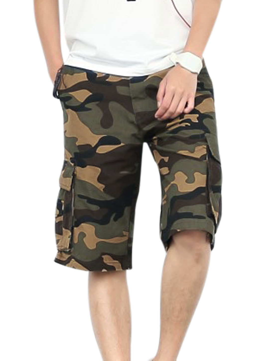 Men One Button Closed Camouflage Pattern Trendy Cargo Shorts Brown Khaki W34