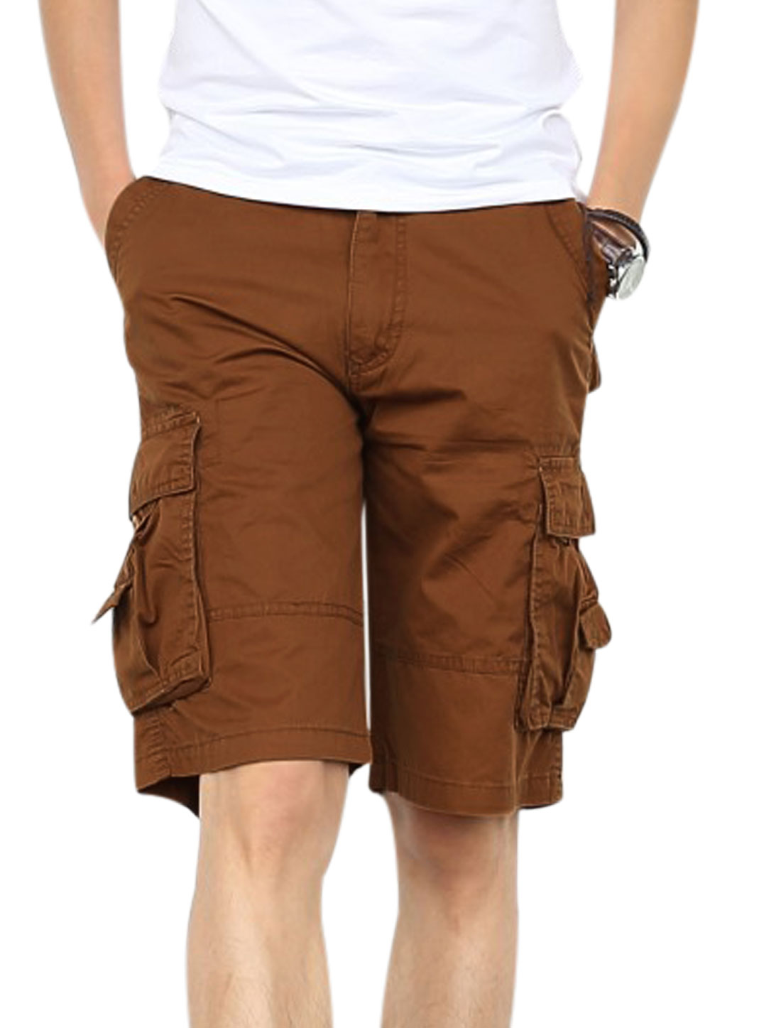 Men Zip Fly Four Cargo Pockets Side Chic Cargo Shorts Dark Khaki W30
