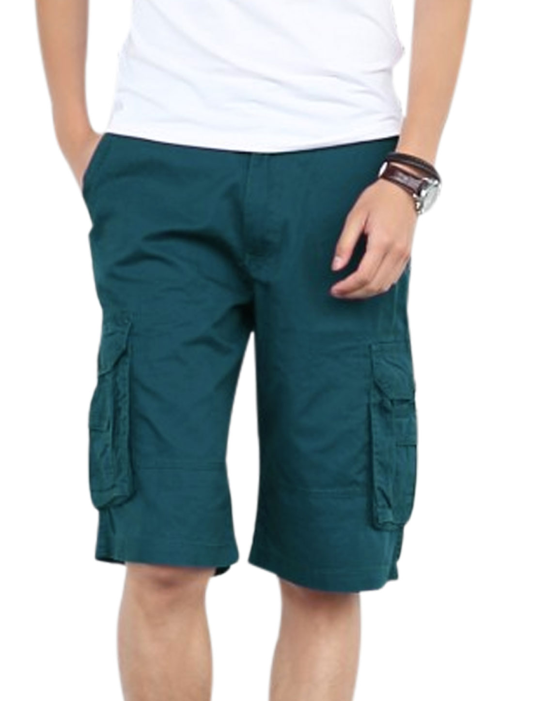 Men Flap Pockets Back Four Cargo Pockets Side Cargo Shorts Peacock Blue W30