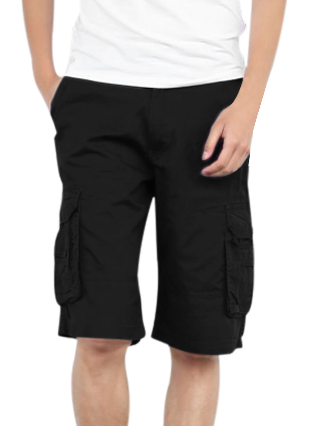 Men Zipper Fly One Button Up Loose Fit Cargo Shorts Black W34