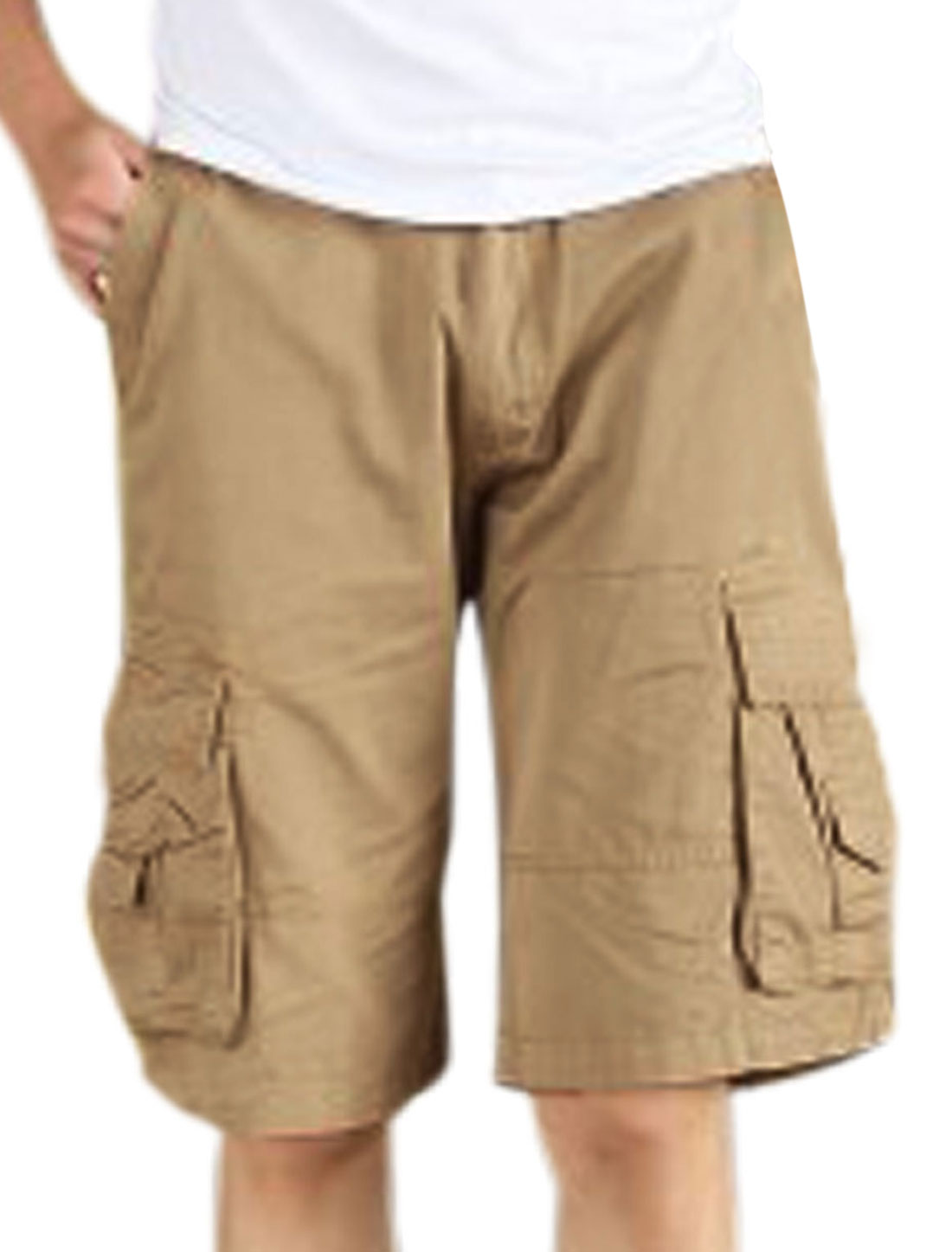 Men Waist Loop One Button Up Loose Fit Cargo Shorts Khaki W34