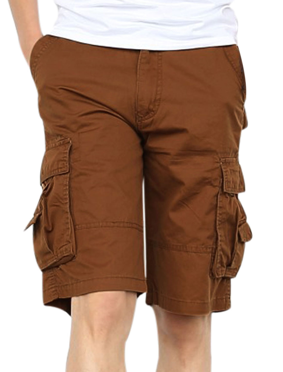 Men Waist Loop Cargo Pockets Side Loose Fit Cargo Shorts Dark Khaki W34