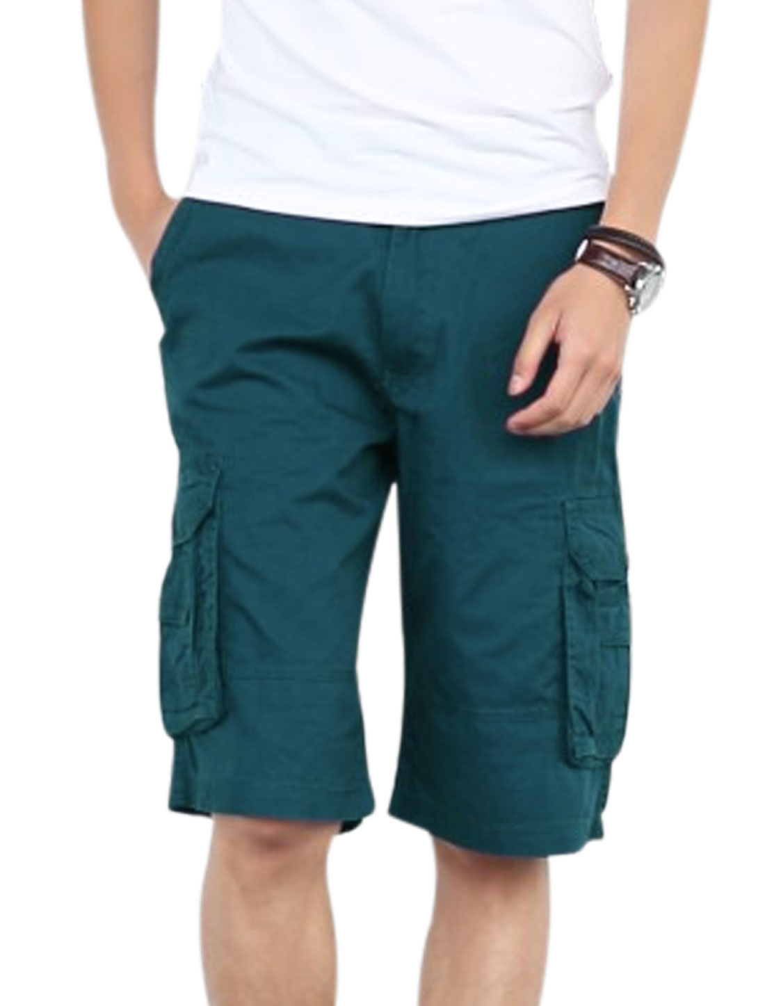 Men One Button Up Multi Cargo Pockets Cozy Fit Cargo Shorts Peacock Blue W34