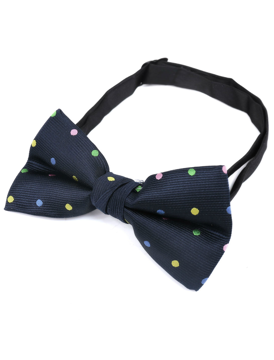 Adjustable Neck Strap Dots Two Layers Bowtie for Men Navy Blue