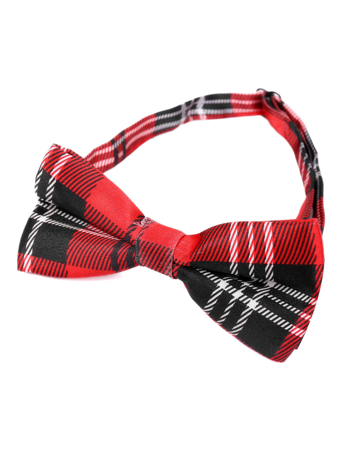 Adjustable Neck Strap Check Two Layers Red Bowtie for Men