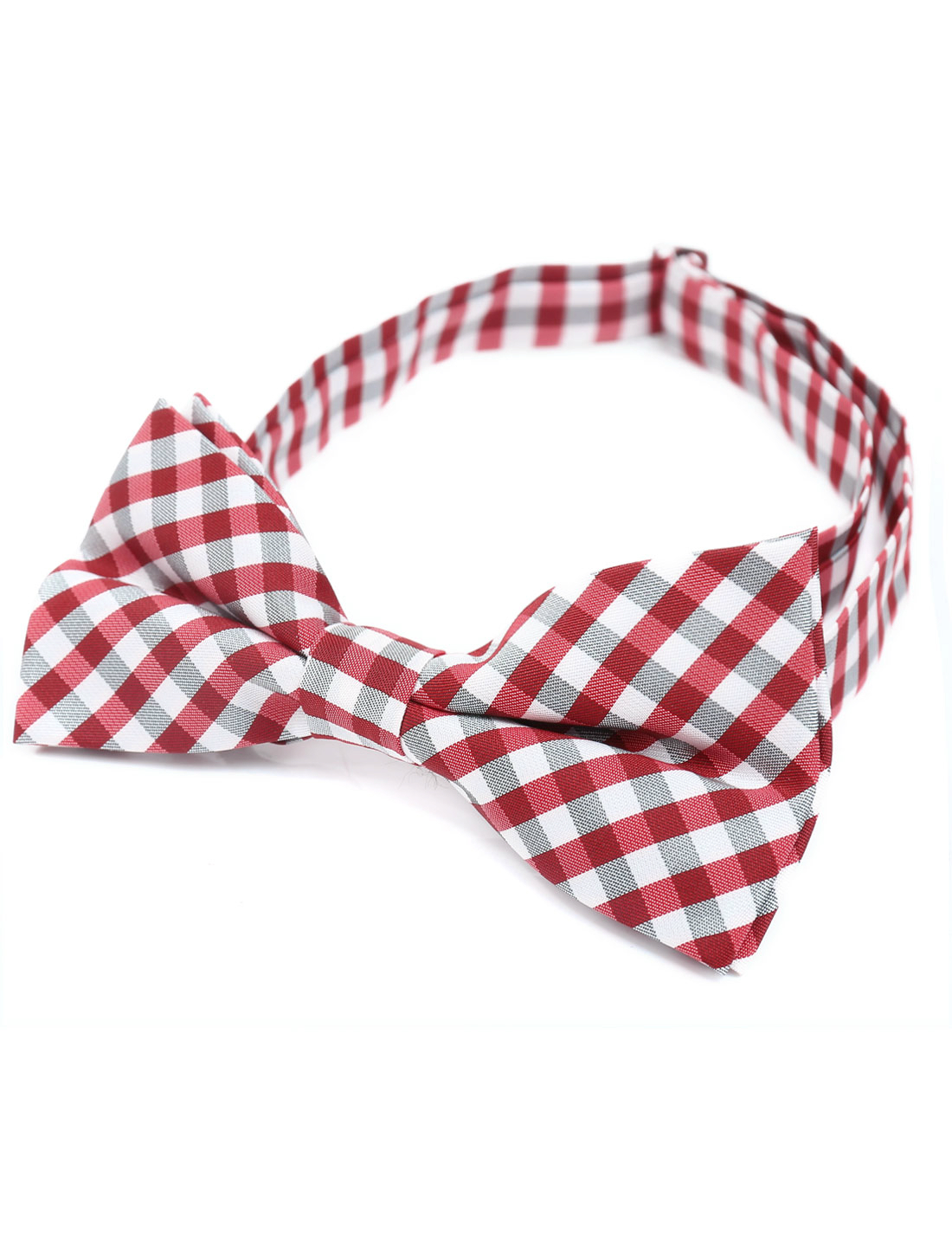 Men Adjustable Neck Strap Plaids Two Layers Bowtie Red White
