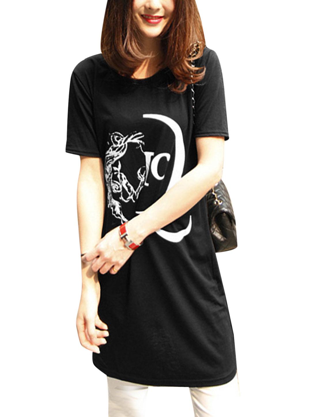 Lady Round Neck Short Sleeve Novelty Prints Tunic Top Black XS