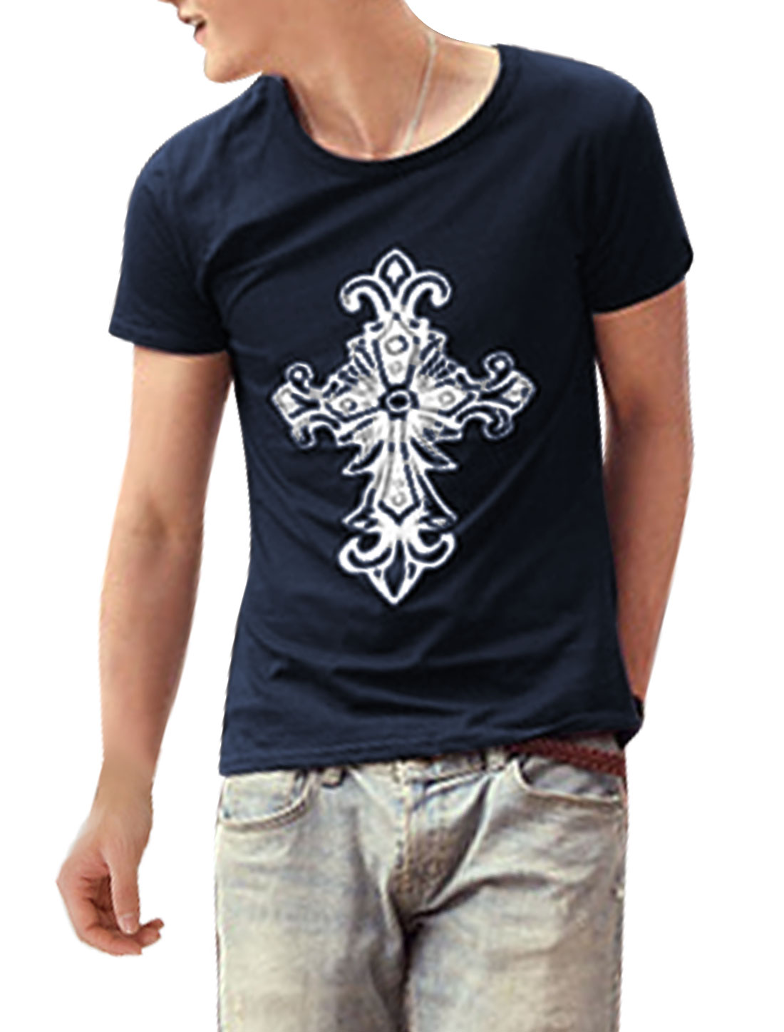 Men Short Sleeve Pullover Cross Pattern Stylish Top Shirt Navy Blue M