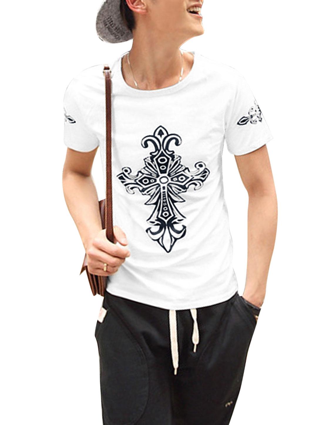 Men Slipover Short Sleeve Cross Pattern Stretchy Top Shirt White M