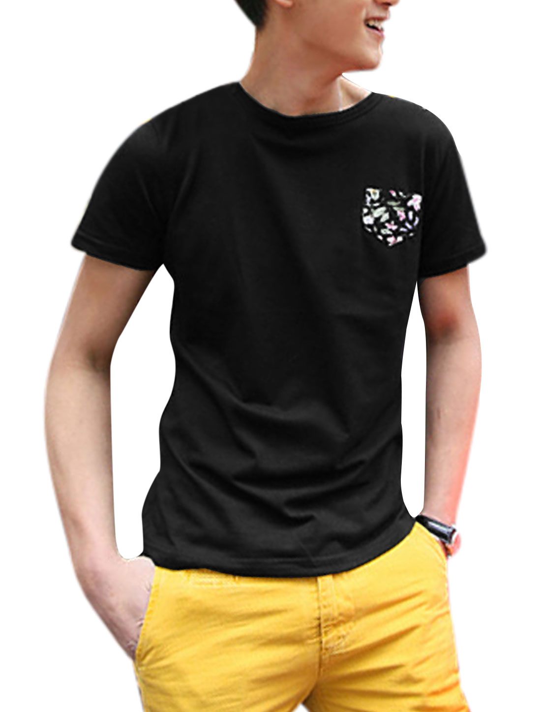 Men Round Neck One Chest Pocket Flower Skull Applique Slipover T-Shirt Black M