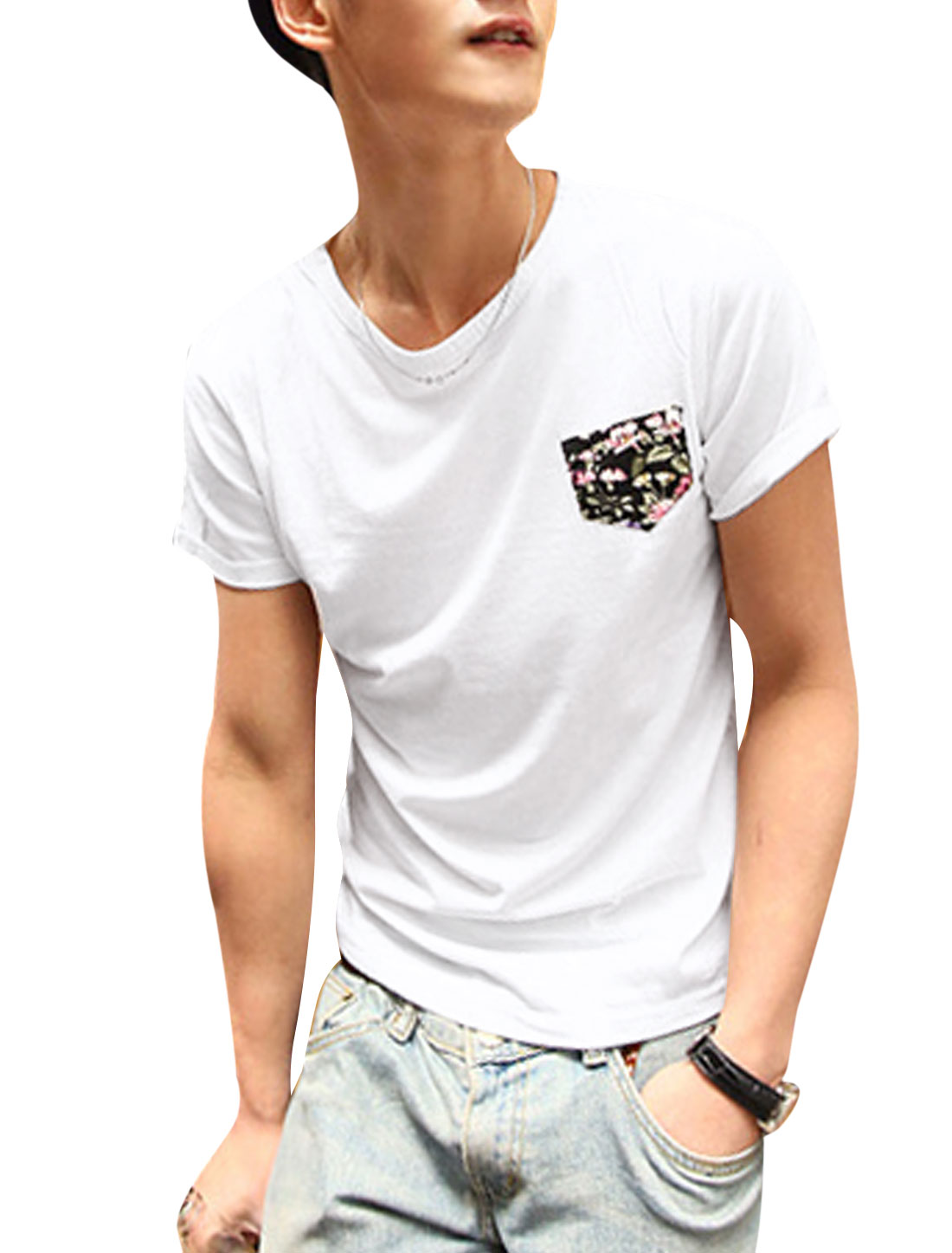 Men One Chest Pocket Flower Skull Applique Slipover T-Shirt White M