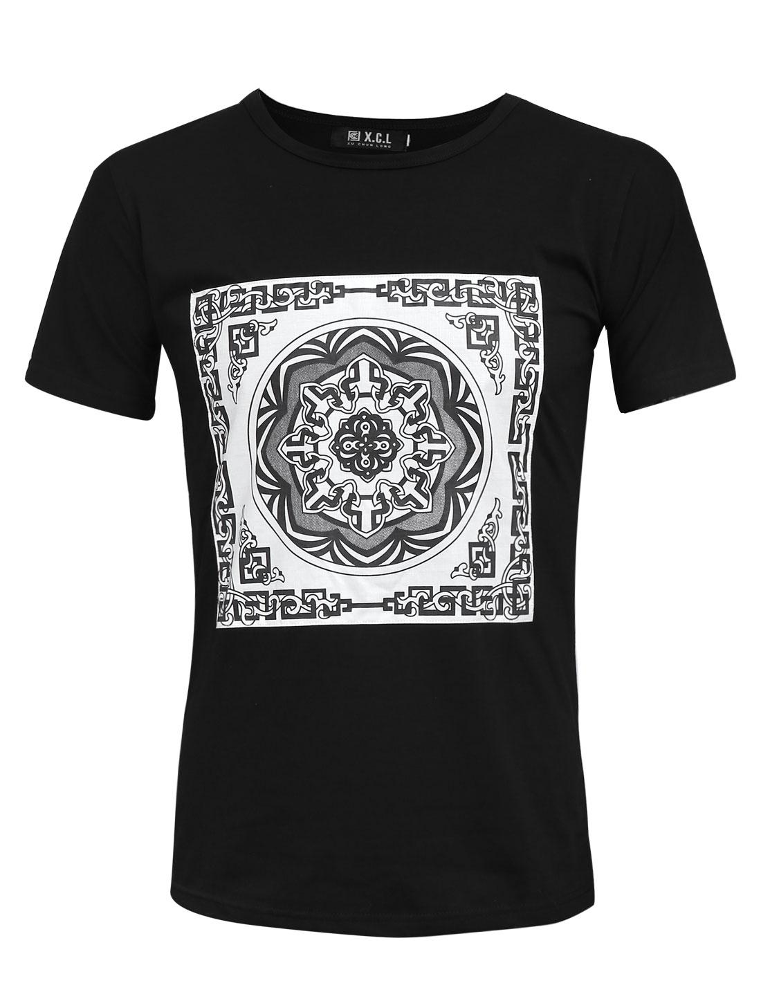 Men Floral Prints Applique Design Slim Fit Pullover Graphic T-Shirt Black M